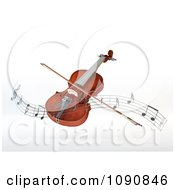 Clipart 3d Floating Violin And Bow With A Wave Of Music Notes Royalty Free CGI Illustration