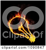 Clipart Fiery Light Bulb On Black Royalty Free CGI Illustration by Mopic