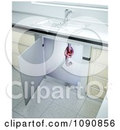 Clipart 3d Clogged Kitchen Sink Drain Pipe With A Knot Royalty Free CGI Illustration