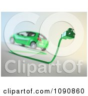 3d Green Electric Car And Plug