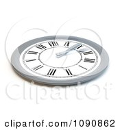 Clipart 3d Silver And White Clock Meal Time Plate Royalty Free CGI Illustration