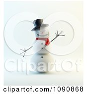 Clipart 3d Waving Snowman With A Big Smile Top Hat And Scarf Royalty Free CGI Illustration