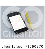 Clipart 3d Pencil By A Smart Phone With A Notepad Royalty Free CGI Illustration by Mopic