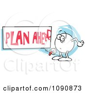 Clipart Moodie Character Writing A Plan Ahead Sign Royalty Free Vector Illustration