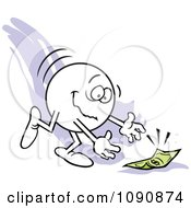 Clipart Moodie Character Picking Up Money From The Ground Royalty Free Vector Illustration