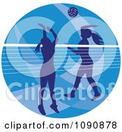 Clipart Silhouetted Female Volleyball Players And A Net Over A Blue Circle Royalty Free Vector Illustration