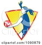 Clipart Blue Female Volleyball Player Serving Over An Orange Shining Triangle Royalty Free Vector Illustration by patrimonio