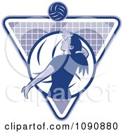 Clipart Blue Female Volleyball Player Over A Grid Triangle Royalty Free Vector Illustration