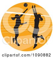 Clipart Silhouetted Female Volleyball Players And A Net Over An Orange Circle Royalty Free Vector Illustration