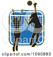 Clipart Silhouetted Female Volleyball Players And A Net Over A Blue Square Royalty Free Vector Illustration
