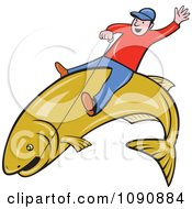 Clipart Man Riding A Large Fish And Holding On With Wire Royalty Free Vector Illustration