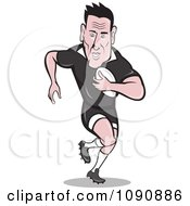 Clipart Black Haired Rugby Player Running Forward With The Ball Royalty Free Vector Illustration