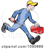 Clipart Happy Repair Man Running With His Tools Royalty Free Vector Illustration