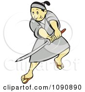 Clipart Samurai Warrior Using A Sword Royalty Free Vector Illustration by patrimonio