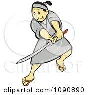 Samurai Warrior Using A Sword