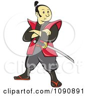 Samurai Warrior Standing And Armed With A Sword