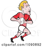 Blond Rugby Player Running With The Ball