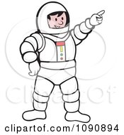 Clipart Pointing Astronaut Royalty Free Vector Illustration by patrimonio