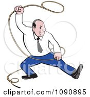 Clipart Businessman Swinging A Lasso Royalty Free Vector Illustration