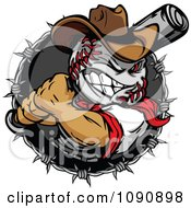 Tough Baseball Head Cowboy With A Bat In A Barbed Wire Circle
