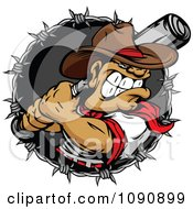 Clipart Tough Baseball Player Cowboy With A Bat In A Barbed Wire Circle Royalty Free Vector Illustration