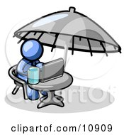 Traveling Blue Business Man Sitting Under An Umbrella At A Table Using A Laptop Computer Clipart Illustration