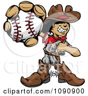 Clipart Baseball Cowboy Kid Holding Out A Ball Royalty Free Vector Illustration