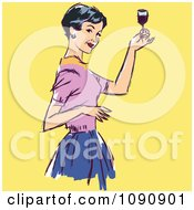 Clipart Retro Woman Raising Her Wine Glass To Toast Royalty Free Vector Illustration by brushingup #COLLC1090901-0171