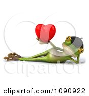 Clipart 3d Romantic French Springer Frog Holding A Heart 4 Royalty Free CGI Illustration