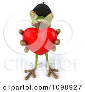 Clipart 3d Romantic French Springer Frog Holding A Heart 1 Royalty Free CGI Illustration