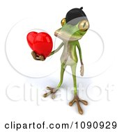 Clipart 3d Romantic French Springer Frog Holding A Heart 3 Royalty Free CGI Illustration