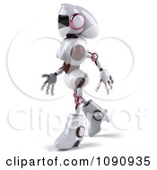 3d Female Techno Robot Walking 3