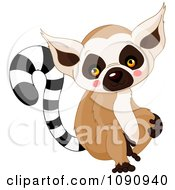 Clipart Cute Baby Zoo Lemur Royalty Free Vector Illustration by Pushkin