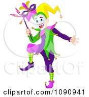 Clipart Happy Mardi Gras Jester Holding A Mask Royalty Free Vector Illustration by Pushkin