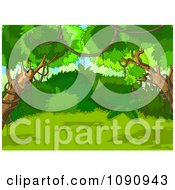 Clipart Green Lush Jungle Background With Vines And Trees Royalty Free Vector Illustration