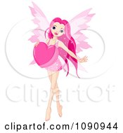 Clipart Beautiful Pink Fairy Holding A Valentine Heart Royalty Free Vector Illustration