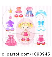 Clipart Toddler Girl Doll With Sets Of Clothing Over Pink Stripes Royalty Free Vector Illustration by Pushkin