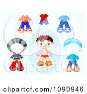 Clipart Toddler Boy Doll With Sets Of Clothing Over Blue Stripes Royalty Free Vector Illustration