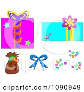 Clipart Gift Boxes Confetti A Bow And Bag Royalty Free Vector Illustration by bpearth