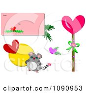 Mouse Stick And Letter Valentines