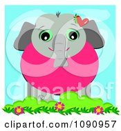 Clipart Cute Elephant With A Red Heart And Floral Vine Royalty Free Vector Illustration