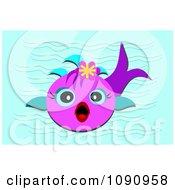Surprised Purple Fish In Blue Water