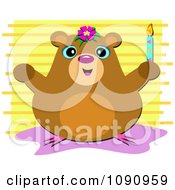 Clipart Happy Hamster Holding A Candle Over Yellow Stripes Royalty Free Vector Illustration