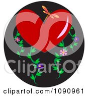 Dragonfly With A Red Heart And Floral Vines Over A Black Circle