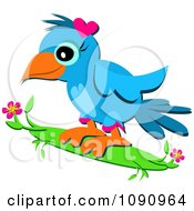 Cute Blue Bird Wearinga Pink Heart On Her Head