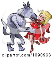 Clipart The Big Bad Wolf Taking Red Riding Hood Into His Arms And Kissing Her Royalty Free Vector Illustration by Zooco