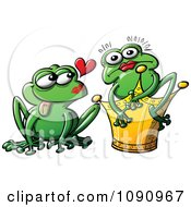 Clipart Princess Turned Into A Frog By Her Mate Royalty Free Vector Illustration