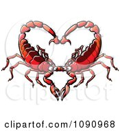 Clipart Red Scorpion Couple Forming A Heart Royalty Free Vector Illustration by Zooco #COLLC1090968-0152