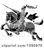 Clipart Black And White Jousting Knight With Hearts Royalty Free Vector Illustration