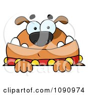 Clipart Brown Bulldog Looking Over A Sign Royalty Free Vector Illustration by Hit Toon